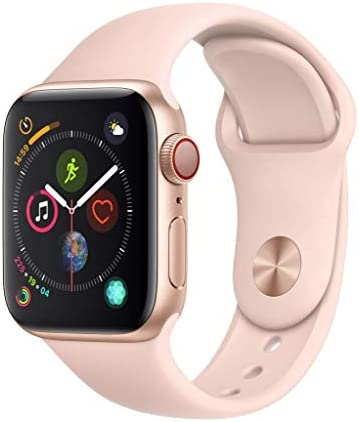 APPLE Watch 4 40MM Gold Aluminum CASE with Pink Sand Sport Band Renewed