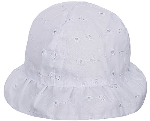 SimpliKids Baby Infant Lovely Floral Embroidered Floppy Wide Brim Sun Hats ,White,0-12 Months