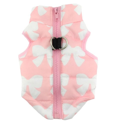 New Various Pet Cat Dog Soft Padded Vest Harness Small dog clothes Pink Bow XS