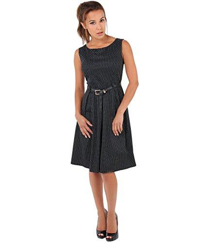 KRISP Damen Vintage Kleid Gepunktet Swing Midi Schwarz 5MzLGAA
