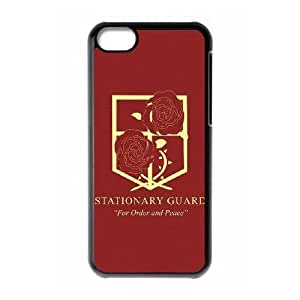 Shingeki funda iPhone Kyojin ningún caso del teléfono celular 5c funda negra de la cubierta, funda de plástico caja del teléfono celular