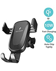 Wireless Car Charger Mount, IGUGIG Auto Clamping 7.5W /10W Fast Charging Qi Car Phone Holder Air Vent Dashboard Compatible iPhone Xs/Xs Max/XR/X/ 8/8 Plus, Samsung Galaxy S10 /S10+/S9 /S9+/S8 /S8+