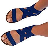 Uniquefashion Women Summer Fashion Elastic Ankle Strap Open -toe Flat Sandals Shoes/blue   amazon.com
