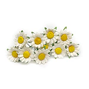 2cm White Yellow Paper Daisies with Wire Stems Mulberry Paper Flowers Floral Crown Flowers Miniature Flowers For Crafts Artificial Flowers, 25 Pieces 14