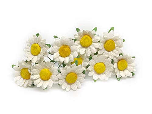 Daisy Rose Corsage - 2cm White Yellow Paper Daisies with Wire Stems Mulberry Paper Flowers Floral Crown Flowers Miniature Flowers For Crafts Artificial Flowers, 25 Pieces