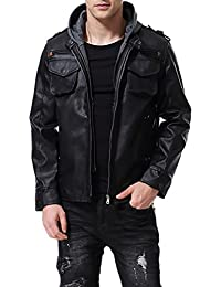 Men's PU Faux Leather Jacket Black with Hood Motorcycle Bomber Fashion Slim Fit