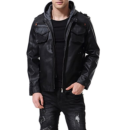 AOWOFS Men's PU Faux Leather Jacket Black with Hood Motorcycle Bomber Fashion Slim Fit (Medium) ()