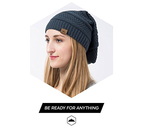 Slouchy Cable Knit Beanie by Tough Headwear - Chunky Oversized Beanie Hats Serious Beanie Hats for Men & Women - Perfect for Old Man Winter - Serious Beanies for Serious Style (Black)