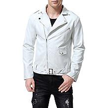 AOWOFS Men's Faux Leather Jacket Stylish Lapel Punk Motorcycle White Coat