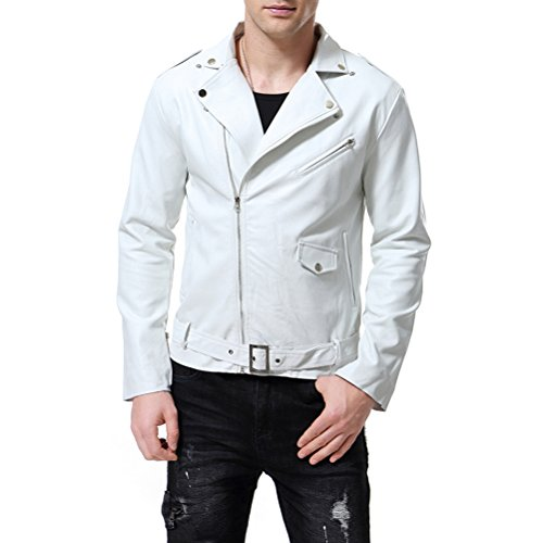 Mens White Leather Motorcycle Jacket - 1