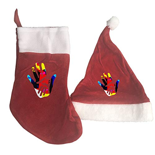 B-B-E-A-H Colored Handprint Print Christmas Stockings and Hat Santa Hat+Socks Decorations Ornaments/Gift Bags Set -