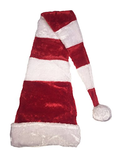 Deluxe Novelty Extra Long Christmas Holiday Hat (Red/White Candy Cane Stripes Floppy Santa Hat 55