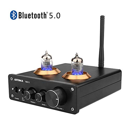 AIYIMA Audio 6J1 Tube Preamplifier Bluetooth 5.0 HiFi Treble & Bass Adjustment Audio Preamplifier DC12V Amplifier Preamp for Home Theater System (Black+Bluetooth 5.0)