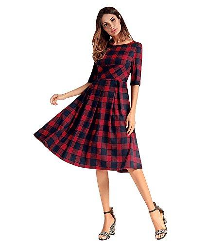 Vestiti Vintage Vintage Abito Rosse Red A Donna antaina Pieghe da Mezza a Line Manica 6Fq0qwxv