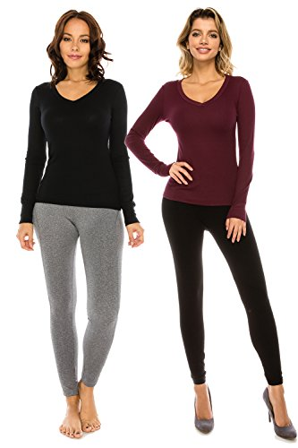 The Classic Woman's Basic Knit V-Neck Slim Fit Long Sleeve Thermal T Shirt Top (Medium, - Usa Women In Hottest