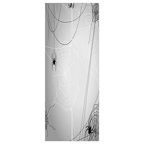 3d Door Wall Mural Wallpaper Stickers [ Spider Web,Spiders Hanging from Webs Halloween Inspired Design Dangerous Cartoon Icon Decorative,Grey Black White ] Mural Door Wall Stickers Wallpaper Mural DIY ()