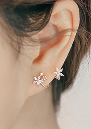 Generic The new Korean sweet lady flowers arc personality Sterling Silver Stud Earrings women girls lady temperament simple earrings (Arc Lady)