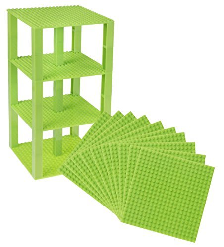 Premium Neon Green Stackable Base Plates - 10 Pack 6