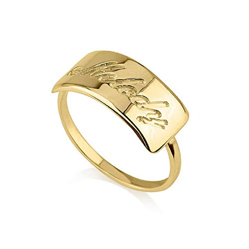 (PEIMKO Bar Name Ring Personalized - Engravable Ring Stacking Ring Custom Made with Any Names in 925 Sterling Silver Size 6-10 (Gold-Plated-Base))