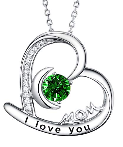 Fine Jewelry Green Emerald Necklace I Love You Mom Jewelry Birthday Gifts for Mom Wife Sterling Silver Heart Moon Pendant Necklace