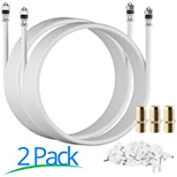 RG-6 | 15 Ft | White | 2 Pack | UL CL2 Certified Cable Quad Shielded Coaxial Cable For Satellite TV & High Speed Internet + Digital Video Cables. …