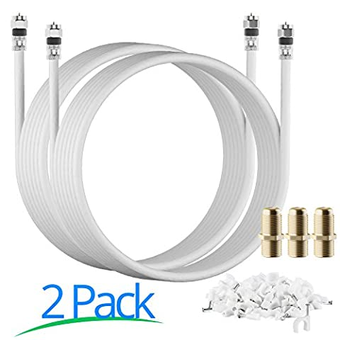 RG-6 | 15 Ft | White | 2 Pack | UL CL2 Certified Cable Quad Shielded Coaxial Cable For Satellite TV & High Speed Internet + Digital Video Cables. - Ultra Rg6 Coaxial Cable
