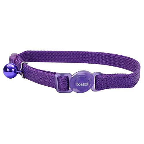 Coastal Pet Safe Cat Adjustable Snag-Proof Nylon Breakaway Collar, Adjust 8' to 12', Purple.