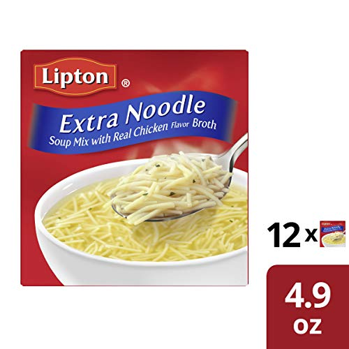 - Lipton Soup Secrets Extra Noodle Soup Mix, with Real Chicken Flavor, 4.9 Ounce, Pack of 12