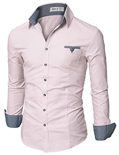 Doublju Mens Slim Fit Cotton Flannel Tailored Shirt, LightPink (Wide Collar Poplin Shirt)