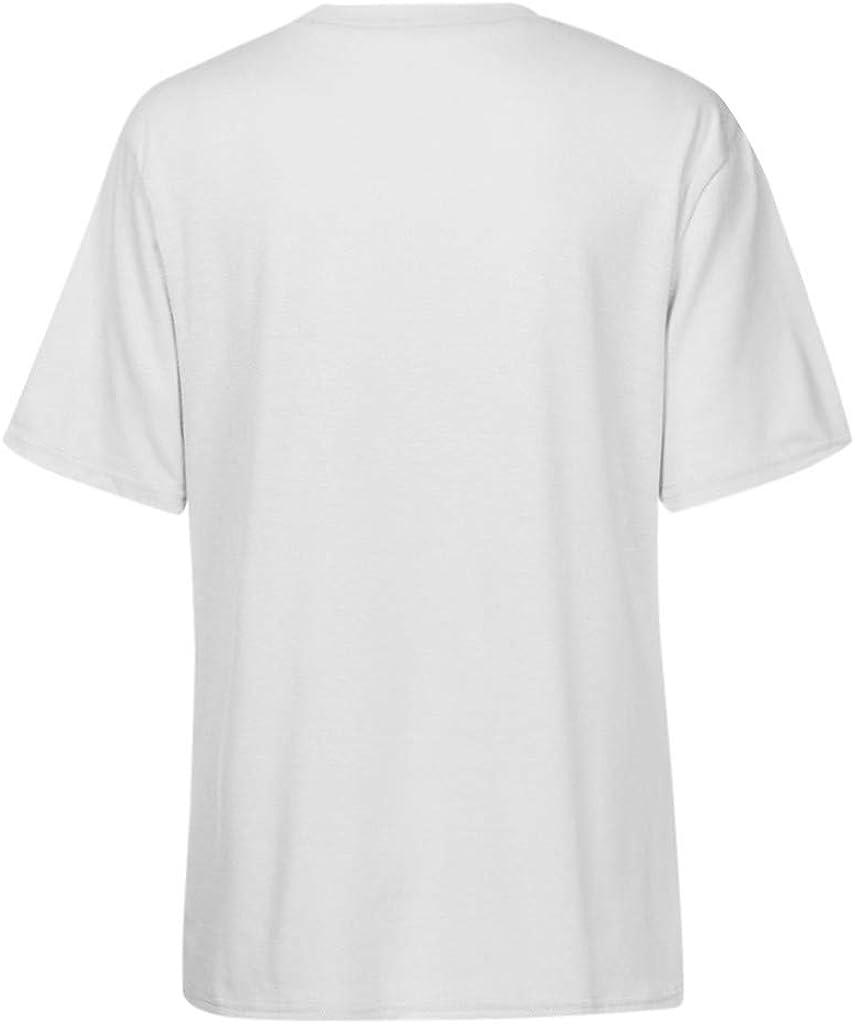 Longra Donna Camicetta Manica Corta Stampa Gattino T-Shirt Basic Girocollo Maglietta Primavera Estate Casual Felpa Sportivo Ragazze Tank Top Camicia