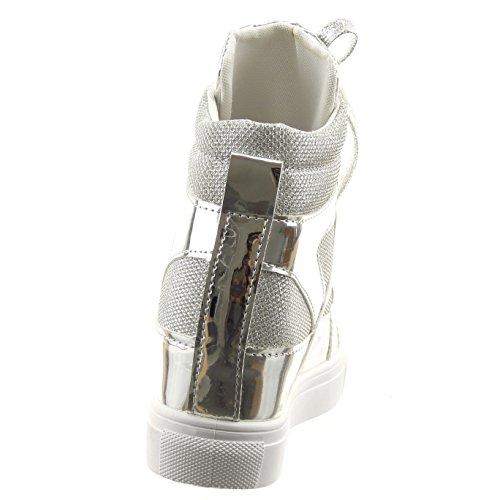 Sopily - Chaussure Mode Basket Compensées Cheville femmes pailettes verni Talon compensé plateforme 6 CM - Intérieur textile - Argent