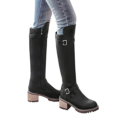 Heel PU Winter Boots Block High Leather Chunky Western Riding Boots Lining Jamron Black Zip Knee Warm Women's xqnwH1wT
