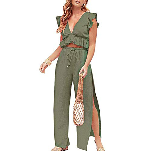 Londony ◈ Womens Two Pieces Set Outfits Deep V Neck Crop Top Side Slit Drawstring Wide Leg Pants Set Jumpsuits Green