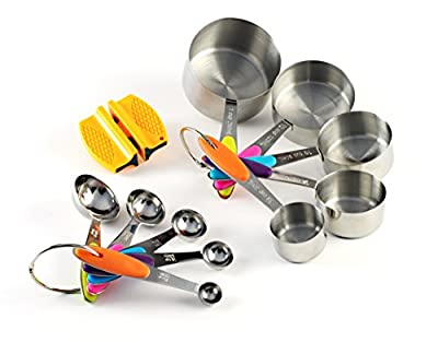 Premium Stainless Steel Measuring Cups and Spoons Stackable Set, 10 Pieces with Bonus 2-Step Knife Sharpener and Recipe eBook. Use Professional Cookware to Measure Food Properly in your Kitchen.