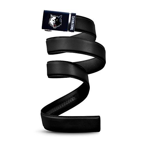 Mission Belt NBA Minnesota Timberwolves, Black Leather Ratchet Belt, Custom (Up to 56