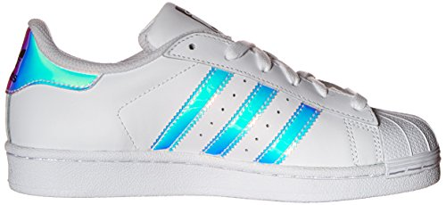 adidas Originals Kid's Superstar J Shoe, White/White/Metallic Silver, 4 M US Big Kid by adidas Originals (Image #7)