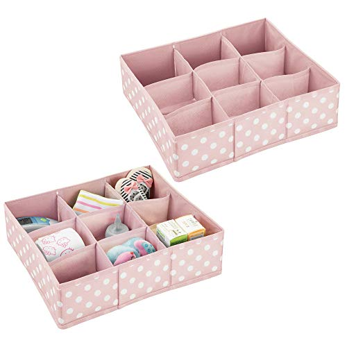 mDesign Soft Fabric 9 Section Dresser Drawer and Closet Storage Organizer Bin for Baby Room, Nursery, Playroom - Divided Large Organizers - Polka Dot Print - 2 Pack - Light Pink with White Dots