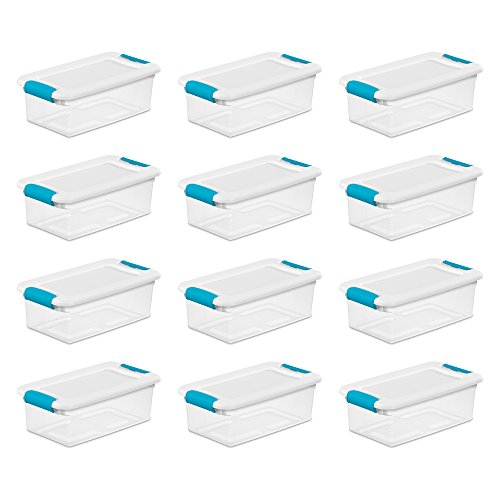 Sterilite 6-Quart Clear and Blue Stackable Latching Storage Box Container (12-Pack)