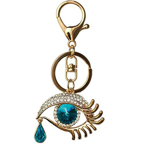 Bolbove Angel's Tears Keychain Teardrop Keyring Evil Eye Crystal Rhinestones Purse Pendant Handbag Charm -