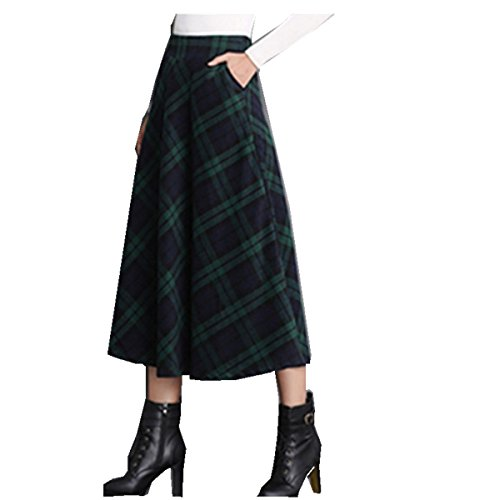 (Taiduosheng Women's Wool Maxi Skirt A-Line Pleated Vintage Plaid Winter Swing Skirts Green L)