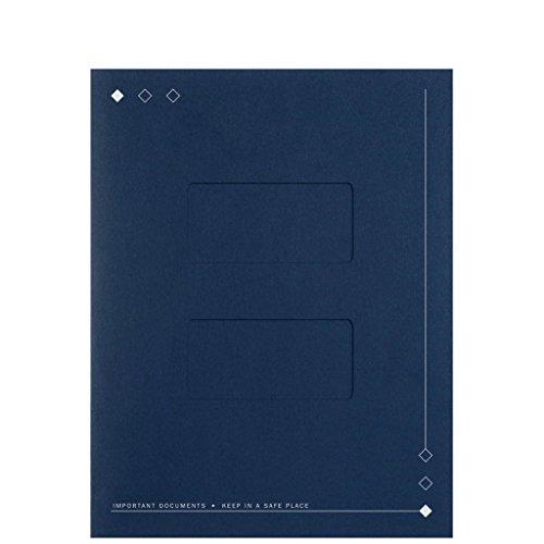 EGP Elegant Top Staple Folder with Large Double Windows, Navy Blue, 50 Count, Size 8 7/8 x 11 1/2
