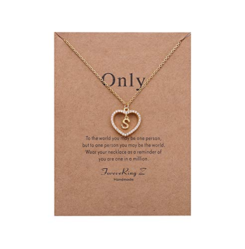 ForeveRing Z Charm Necklace Message Card Only Letter S Necklace Initial Necklace Heart Love Necklace CZ Cubic Zirconia Pendant Love Necklace Woman Jewelry
