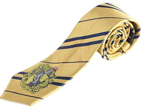 Hide Away Harry Potter Style Embroidered Necktie, [ Gryffindor/Slytherin / Hufflepuff/Ravenclaw ] for Cosplay (Yellow)