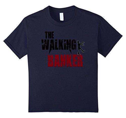Kids Banker Gift T Shirts  Walking Banking Zombie Bank Tees 12 Navy