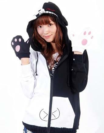Dangan Ronpa Back White Bear Costume Zipper Hoodie (XXL)