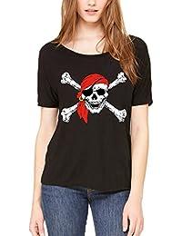 Jolly Roger Skull & Crossbones Slouchy T-shirt Pirate Flag Shirts