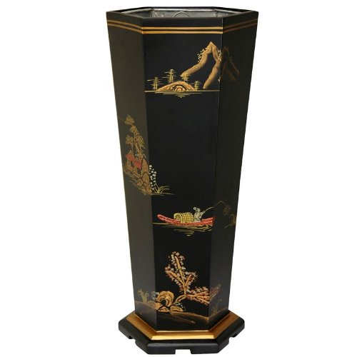 Oriental Furniture Black Landscape Umbrella Stand by ORIENTAL FURNITURE