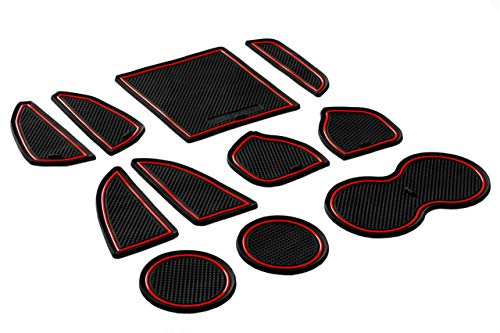 CupHolderHero for Dodge Challenger 2015-2020 Custom Fit Cup Holder, Door, and Center Console Liner Accessories 11-pc Set (Red Trim)