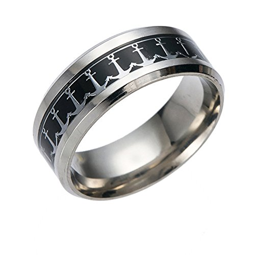 - FM FM42 Black Background & Silver-Tone Pattern Mens Sea Theme Anchor 8mm Width Stainless Steel Band Rings LR2008-10
