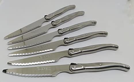 6 Cuchillos CHULETEROS Mango INOX QUTTIN ALBACETE 11CM